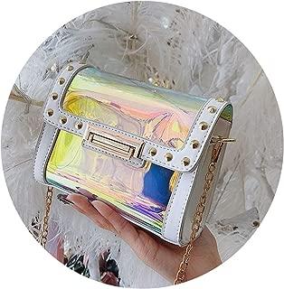 Women Transparent Bag Clear PVC Laser Chain Shoulder Bag Small Holographic Messenger Bag