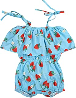 Huarll Infant Baby Girl Lace Ruffles Princess Outfit Clothes Cute Strawberry Printed Floral Dresses Lace Up Romper