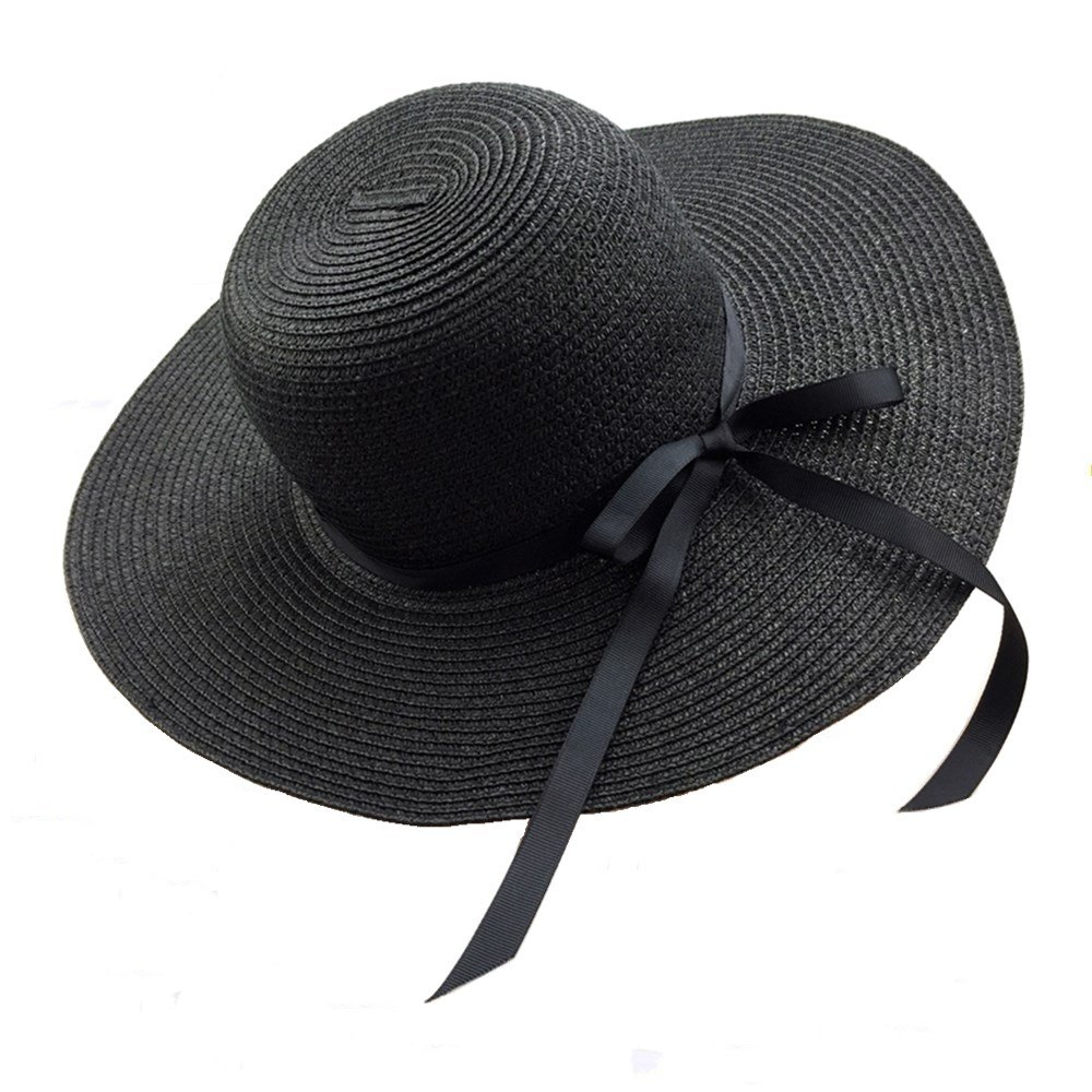 Chapter Seven Womens Sun Hat Floppy Foldable Bowknot Straw Hat Summer Beach Cap UV Protection UPF50