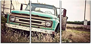 wall26 - 3 Piece Canvas Wall Art - Old Rusty Car Along Historic Us Route 66 - Modern Home Decor Stretched and Framed Ready to Hang - 16