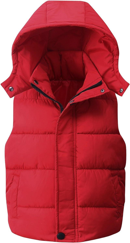 Kids Padded Vest Winter Puffy Detachable Hooded Zipper Up Sleeve
