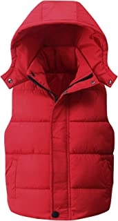 Happy Cherry Kids Padded Vest Winter Puffy Detachable Hooded Zipper up Sleeveless Jacket 5-12T
