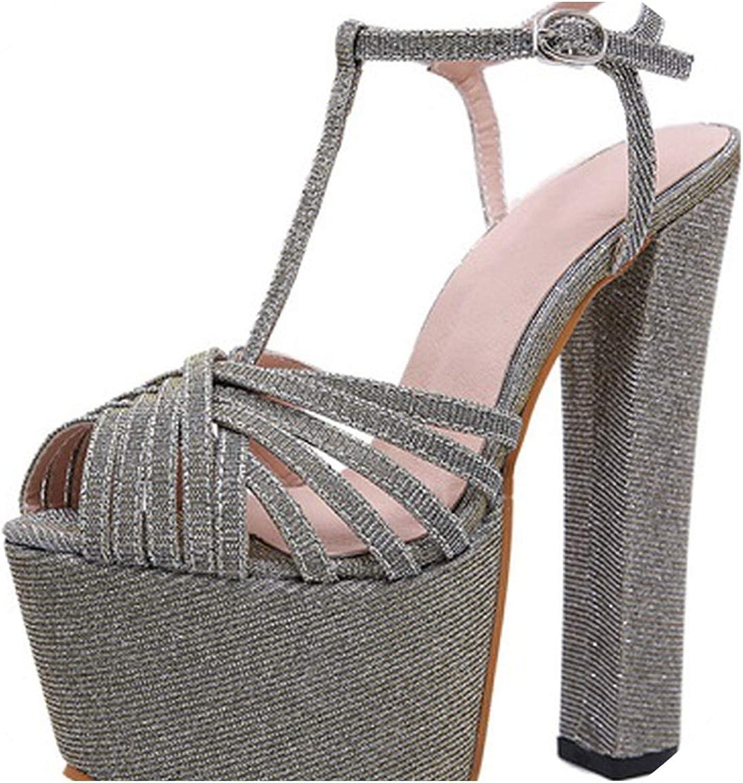 RAINIE002 Fashion Sequinedwomen Sandals Pumps shoes Peep Toe Buckle Strap shoes Sexy High Heels Gladiator Sandalswomen
