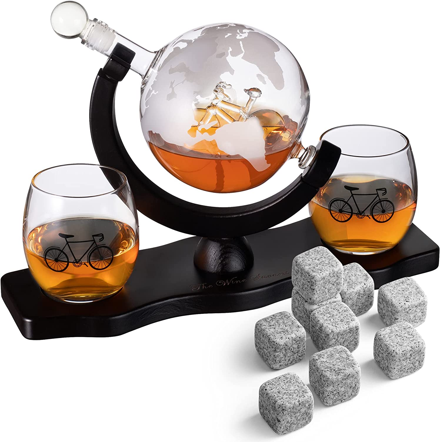San Francisco Mall Bicycle Whiskey Decanter Sets 5 ☆ popular with 2 Glasses Bike Decan - Liquor