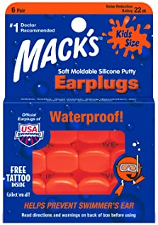 Macks Soft Moldable Silicone Kids Size Earplugs 6 Pair