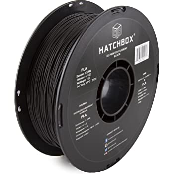 HATCHBOX PLA 3D Printer Filament, Dimensional Accuracy +/- 0.03 mm, 1 kg Spool, 1.75 mm, Black, Pack of 1