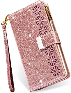 iPhone 7 Plus Wallet Case with Card Holder,iPhone 8 Plus Case for Women,Kudex Bling Glitter Sparkly Leather Flip Folio Kic...