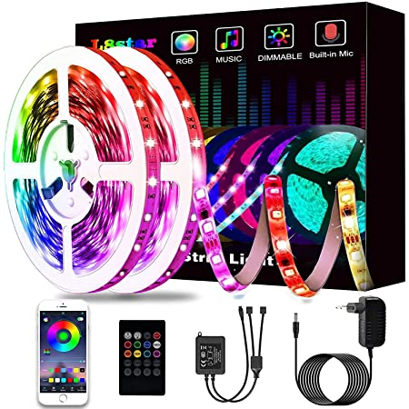 Ruban à LED 15M, L8star LED Ruban Intelligent Bande Lumineuse Led 5050 RGB SMD Multicolore Bande LED Lumineuse avec Télécommande changement
