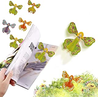 JJLIKER Magic Fairy Flying Butterfly Card Wind Up Rubber Band Powered Flying Toys Surprise Gift or Party Playing Christmas...