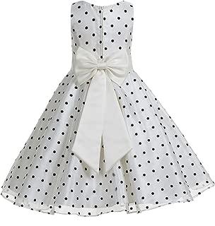 Áo quần dành cho bé gái – Polka Dot V-Neck Rhinestone Organza Flower Girl Dresses Graduation Dress Toddler Dresses 184T