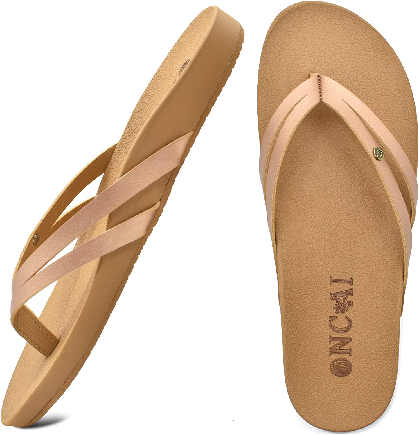 ONCAI Womens Flip Flops Orthotic Arch Support Fashion Summer Beach Thong Sandals for Women with Soft Cushion Yoga Mat Size 5-10