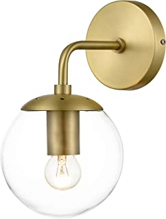 Light Society LS-W264-BB-CL Zeno Brushed Brass and Clear Glass Globe Wall Sconce, Mid Century Modern Retro Vintage Style
