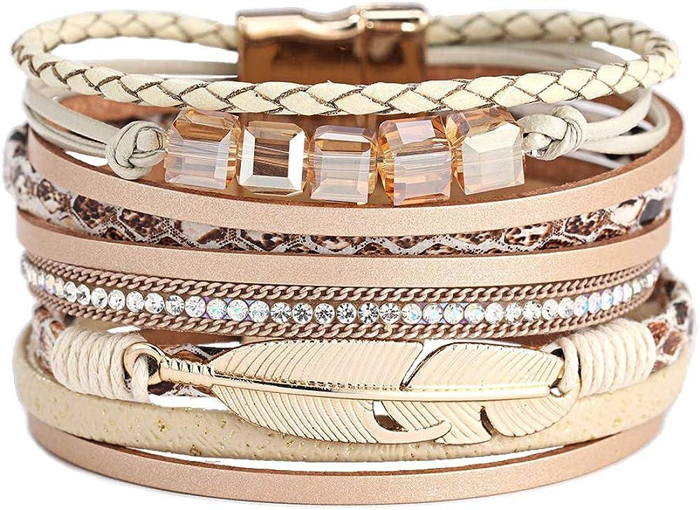 Super special price Ranking TOP11 Leather Wrap Bracelets Feather Cuff Bracelet Gorgeous Bangl Boho
