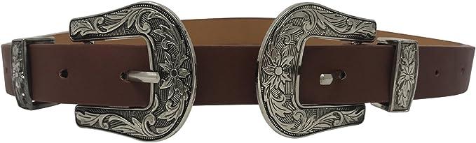 Live It Style It - Cintura da donna con doppia fibbia in finta pelle di alta qualità, stile occidentale
