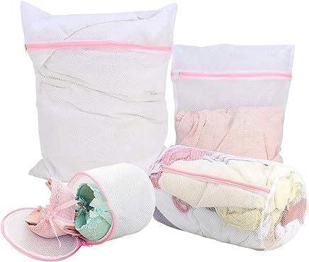 HOKIPO Microfiber Mesh Laundry Clothes Washing Bag (White) - Pack of 4