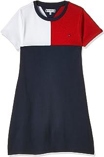 Tommy Hilfiger Girl's Stripe Rib S/S Dress, Color:Twilight Navy, Size:6