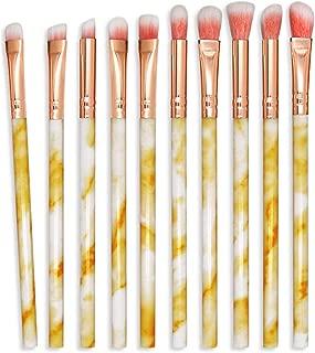 MUKO Makeup Eye Brush Set 10Pcs Powder Foundation Eyeshadow Brushes Eyebrow Eyeliner Lip Cosmetic Brushes Blending Cosmetics Brushes Kit (Marble Pattern, Rose Gold handle) (Marble Pattern(Yellow))