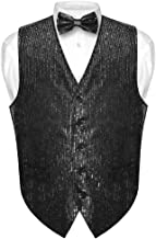 Men's Sequin Design Dress Vest & Bow Tie Black Color Bowtie Set for Suit Tux