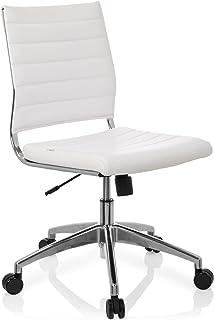 hjh OFFICE 720003 silla de oficina TRISHA piel sintética blanco base cromada elegante silla giratoria
