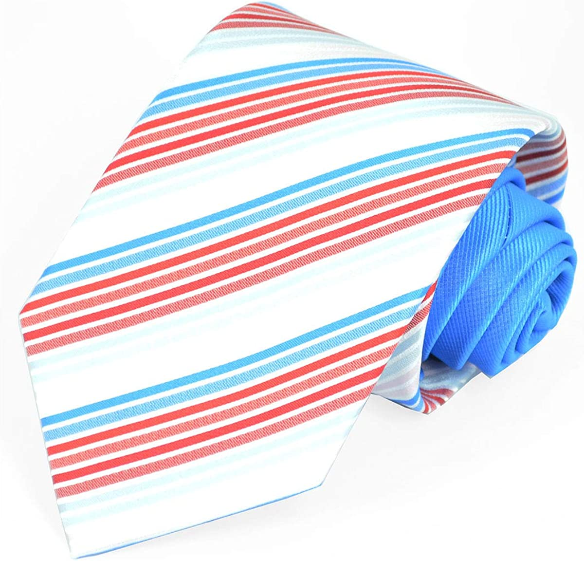 Striped Contrast Knot Tie and Pocket Square by Paul Malone