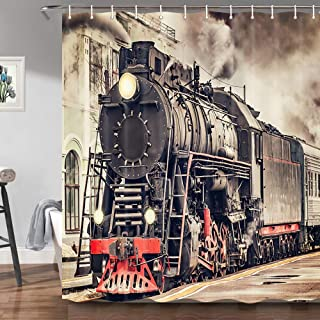 ZIXCOS Vintage Industrial Steam Engine Shower Curtain, Antique Old Times Locomotive on Rail Road with Smoke, Retro Train Station, Bathroom Waterproof Fabric Shower Curtains and Hooks Set, 69X70 Inch