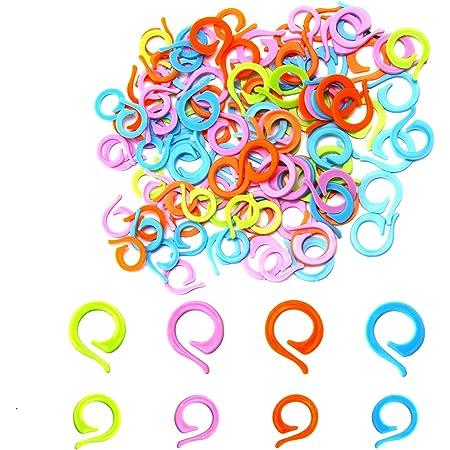 AIEX 120 Pièces Marqueurs de Point à Tricoter, 60 Grands 60 Petits Anneau de Marque de Crochet en Plastique, Anneaux de Point à Tricoter pour la Couture Tricot t - Couleurs aléatoires