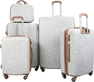 Luggage Trolley Set, 5 Pcs - White And Brown
