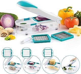 Légumes Mandoline, Coupeur manuel de cuisine pour trancheuse polyvalente 3 en 1, Coupeur de légumes en acier inoxydable, U...
