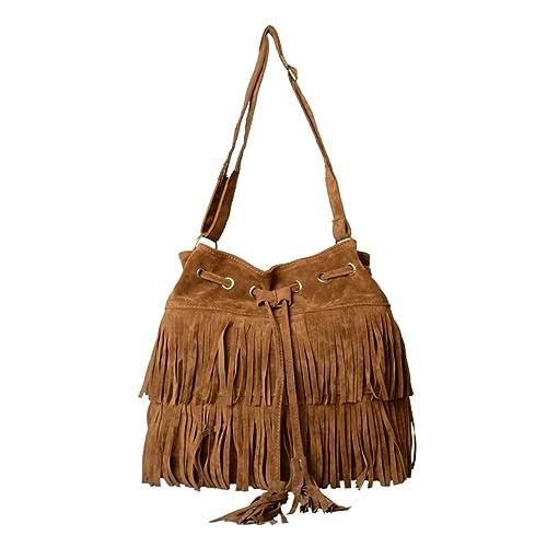 Aimerfeel-Womens Faux Suede Fringe Tassels Cross-body Shoulder Bag Bucket  Bag 608535739459