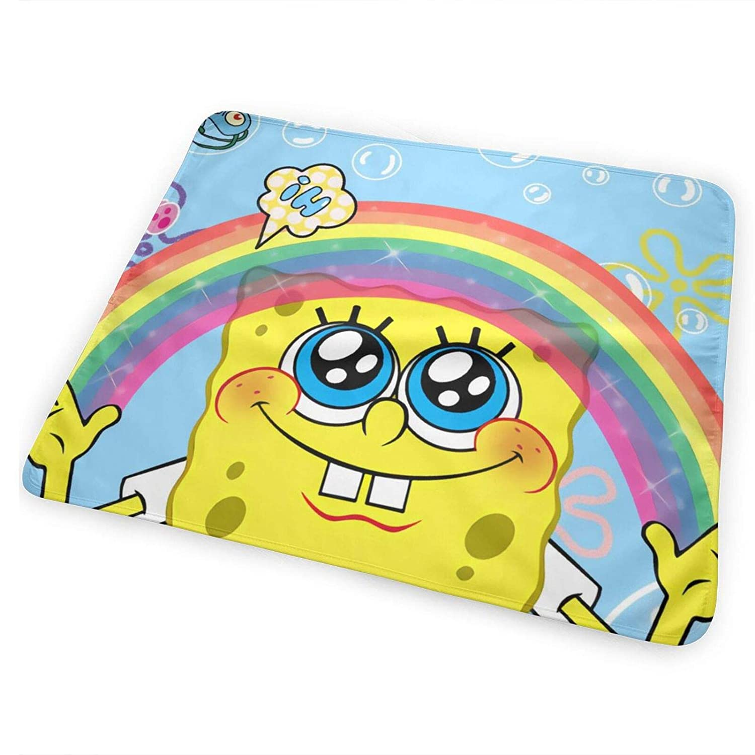 Sponge-Bob Portable Changing Pad is A Large Size 65cm x 80cm-100% Polyester Fiber (Polyester) Reusable Changing Pad for Baby Boys and Baby Girls.