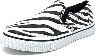 Girl's Stylish Low-Top Slip-On Zebra Striped Print Sneaker