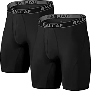 BALEAF 9 Inches Men's Active Underwear Sport Cool Dry Performance Boxer Briefs with Fly (2-Pack)