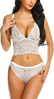 ADOME Honeymoon Lingerie for Bride Sexy Lace Bra and Panty Women's Two Piece Underwear White XXL