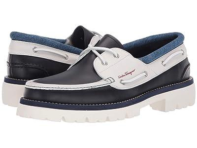 Salvatore Ferragamo Ambler Boat Shoe (Dark Blue/Off-White) Men