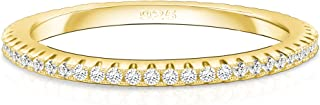 14K Gold Plated Sterling Silver Cubic Zirconia Stackable Ring Eternity Wedding Bands for Women