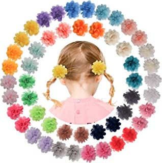 "Qearl 50 Pieces 2"" Chiffon Flower Hair Bows Clips Fully Lined Alligator Clips Hair Barrettes Accessories for Baby Girls In..."