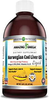 Amazing Omega Norwegian Cod Liver Oil 16 Oz 473 ml, Fresh Orange - Supports Heart, Joint, Brain, Bone & Immune Health