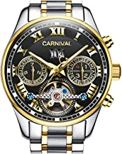 PASOY Carnival Men's Watch Automatic Mechanical Tourbillon Stainless Stell Date Black Dial Skeleton Watch