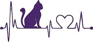 JMM Industries Cat Heartbeat Vinyl Decal Sticker Car Window Bumper Premium Quality UV Resistant Die Cut (Purple, 3-Inches)