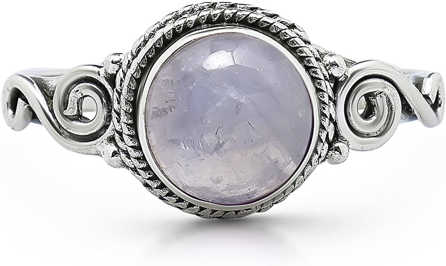 Round Moonstone Spiral Side Delicate Gifts Ring- 925 Sterling Max 85% OFF Silver -