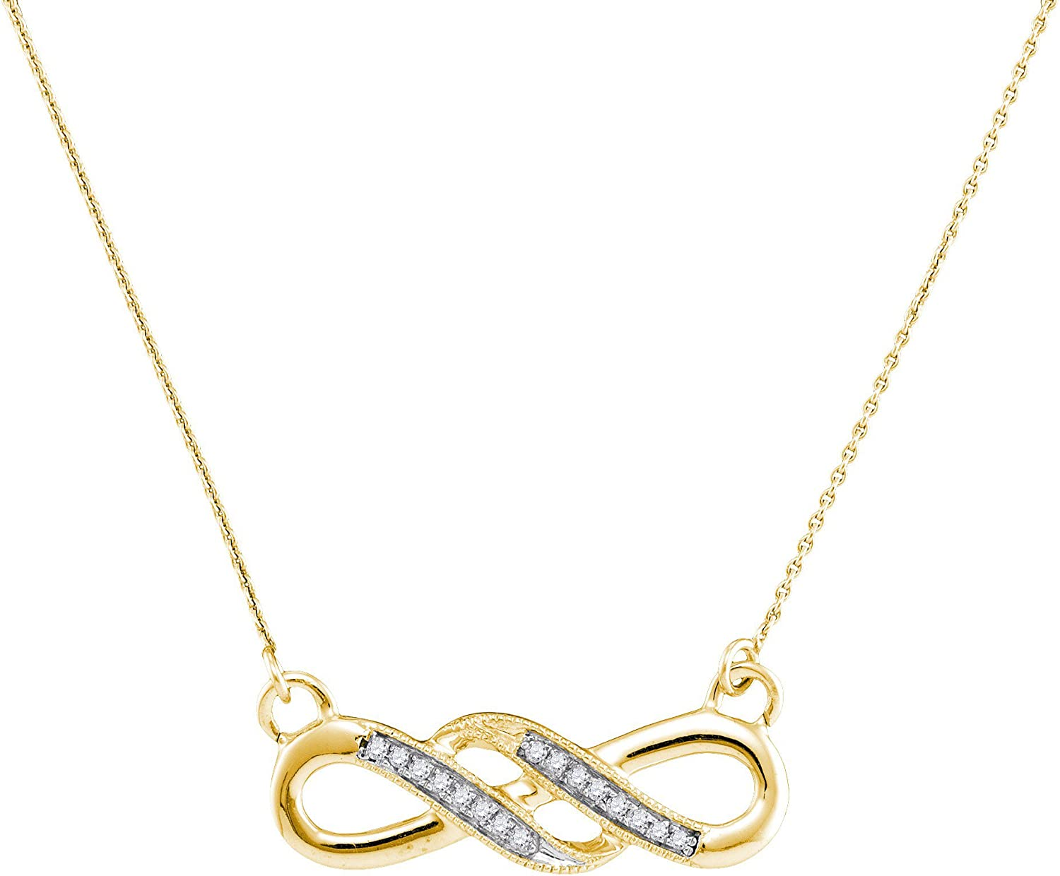 10kt Yellow gold Womens Round Diamond Infinity Pendant Necklace 1 20 Cttw