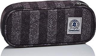 Bustina Ovale Invicta Stripes, Grigio, con Organizer interno porta penne