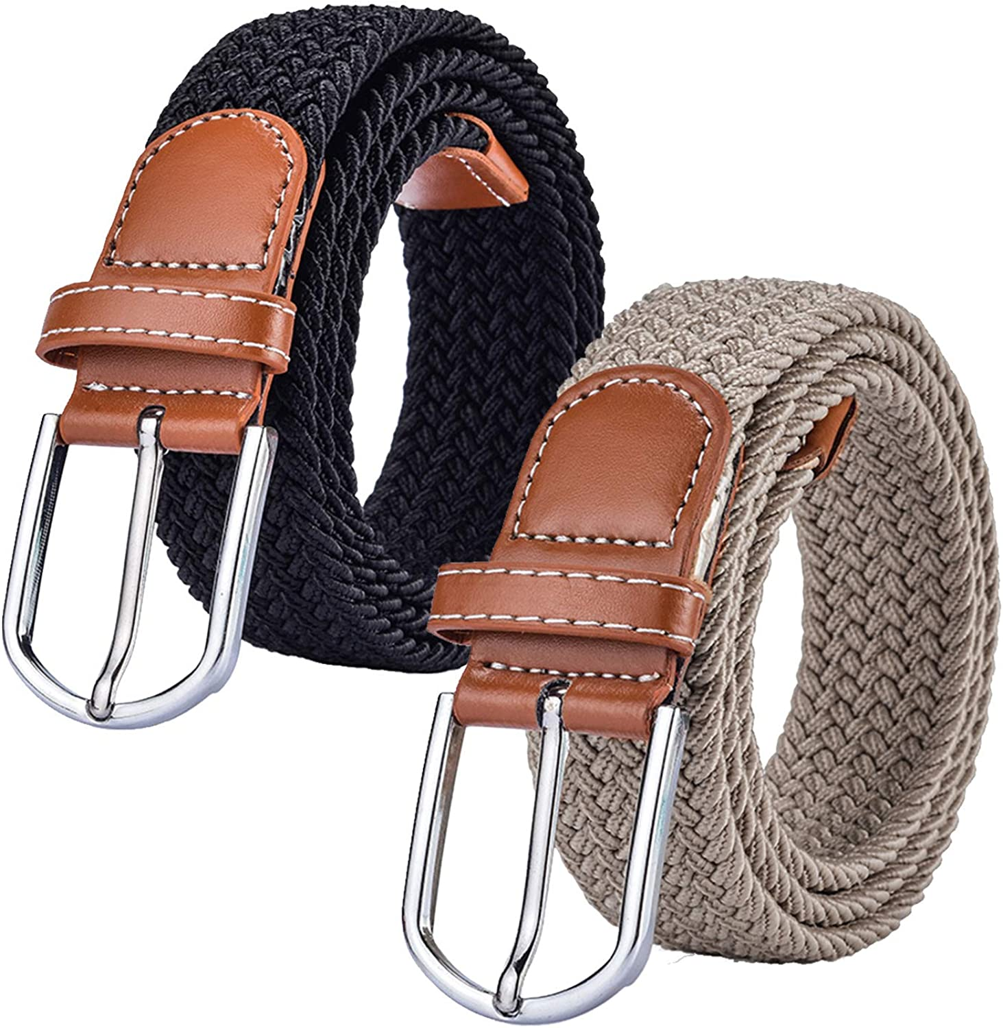 2 Pack Braided Canvas Belts Womens Woven Elastic Stretch Fabric Multicolord Belt