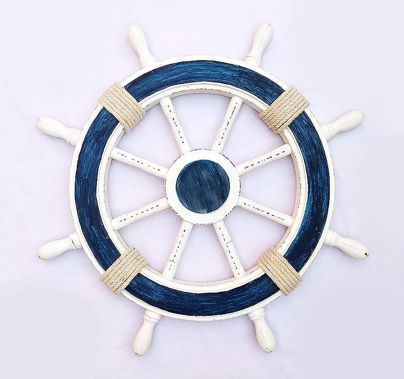 Nagina International Nautical Decorative White Blue Premium Ship Wheel With Accentuated Rope Pirate S Wall Decor Sea Gift 36 Inches