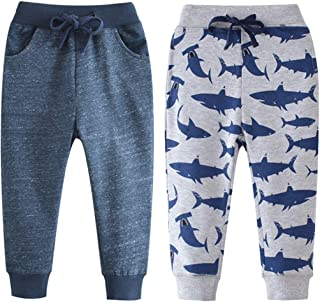 Qin.Orianna Little Boys Cartoon Pattern Cotton Drawstring Elastic Sweatpants Sport Jogger Pants with Pocket