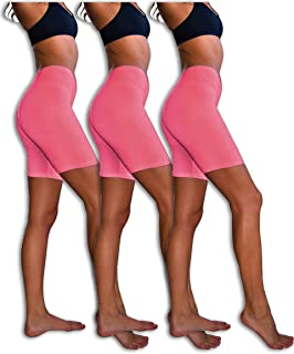 Slip Shorts   3-Pack Bike Shorts   Cotton Spandex Stretch Boyshorts for Yoga/Workouts