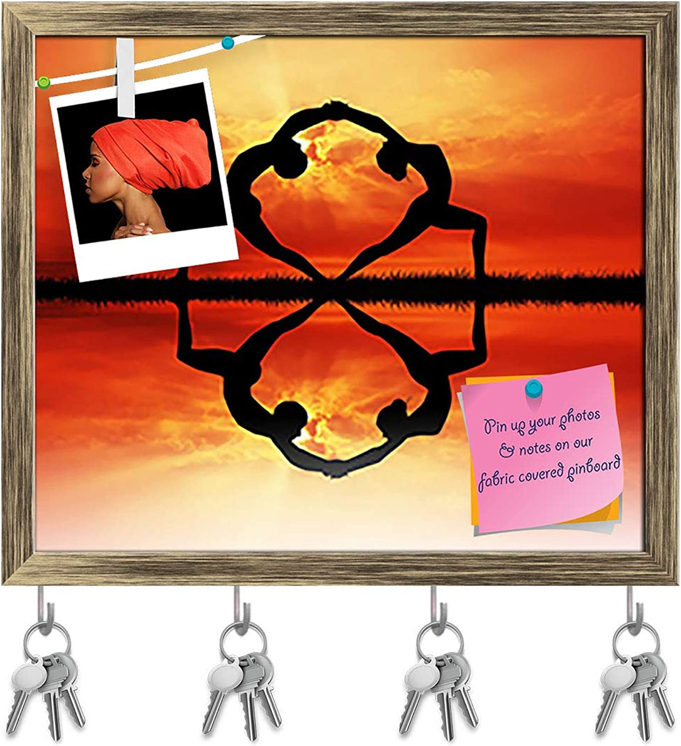Artzfolio Couple Doing Yoga at Sunset D2 Key Holder Hooks   Notice Pin Board   Antique golden Frame 18.7 X 16Inch