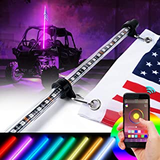 Xprite 5ft(1.5M) LED Whip Lights RGB Bluetooth Controlled Custom Colors Voice and Music Flag Pole Safety Antenna w/U.S. Flag for UTV ATV 4X4 Offroad Sand Dune Buggy Truck Jeep - One Piece
