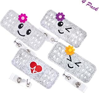 Nurse Badge Reel Holder - Cute Bandage RN Badge Reel Embroidery Retractable Badge Card Holder with Alligator Clip for Students Teachers,Perfect Nurse Gifts (4 Pack)