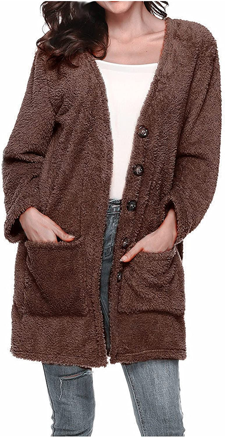 Womens Winter Coat Single Breasted Button Industry No. 1 Novelty Fur half Faux